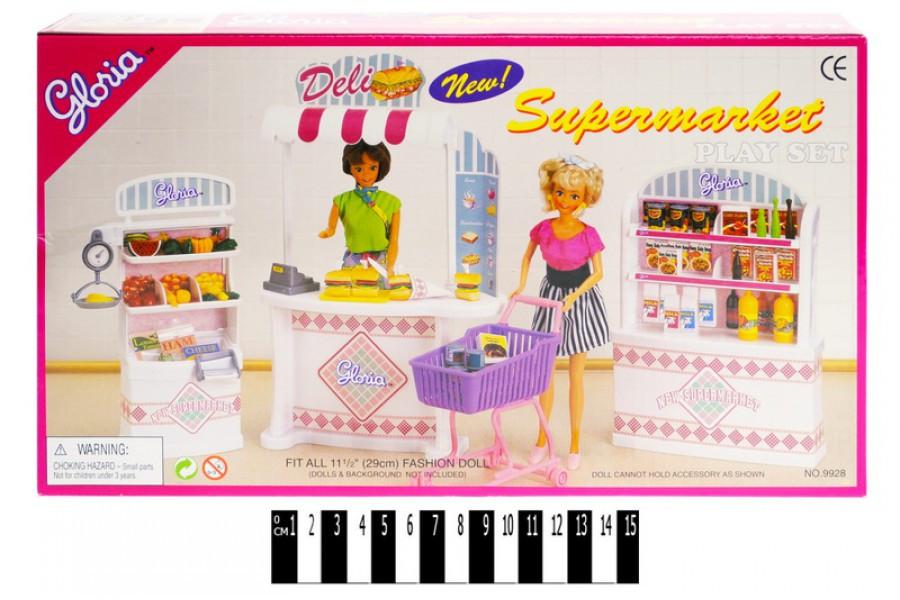 Лялькова меблі Глорія 9928 Магазин Суермаркет, Gloria