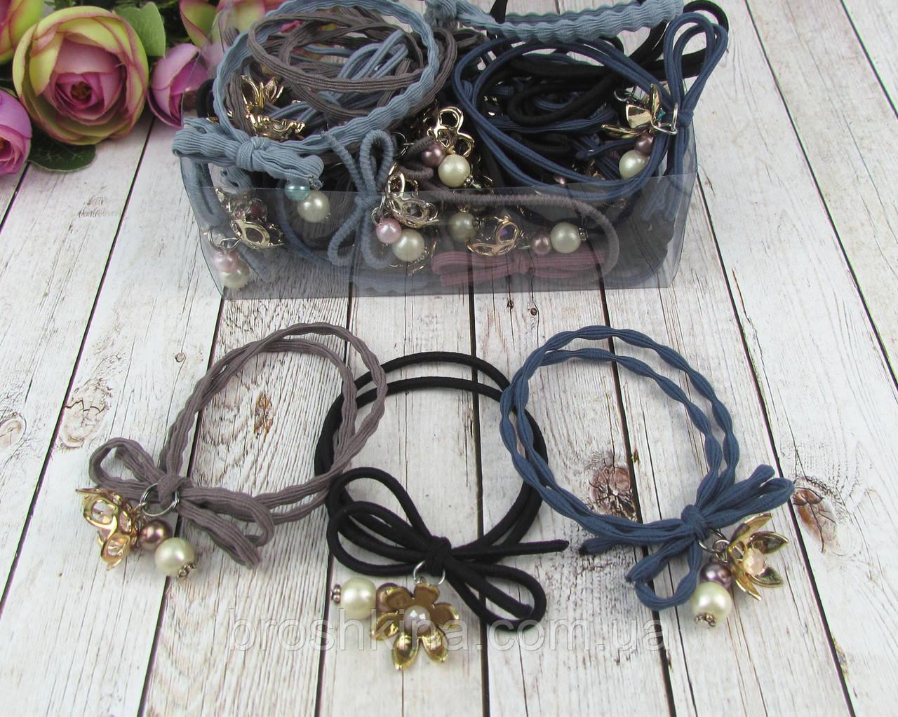 Резинки для волос с цветами и бусинами 30 шт/уп.