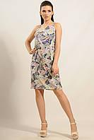 Летний дышащий серый хлопковый женский сарафан RiMari Флора  42