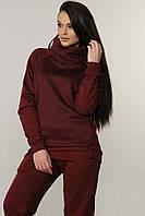 Бордовый теплый спортивный женский свитшот с начесом RiMari Эйми 44