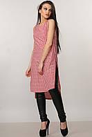 Хлопковая удлиненная женская блуза туника в красную клетку RiMari Виши  40, 44, 48