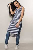 Хлопковая удлиненная женская блуза туника в синюю полоску RiMari Виши  42