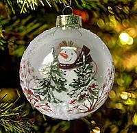 """Игрушка на елку """"Снеговичок в шаре""""85 мм"""