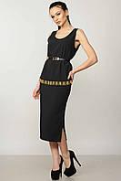 Классическая черная женская юбка с разрезом RiMari Джой  42, 44, 50, 52