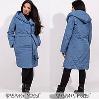 Стеганое батальное пальто на синтепоне, темно-голубой
