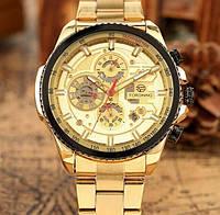 Механические часы с автоподзаводом Forsining (gold) - гарантия 12 месяцев