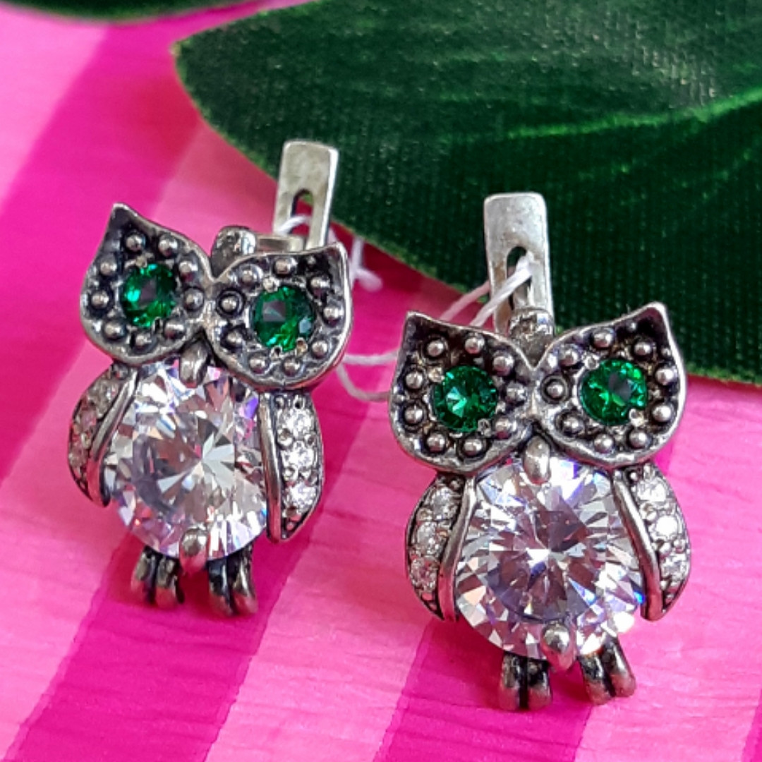 Сережки Сови срібло - Срібні сережки Сова