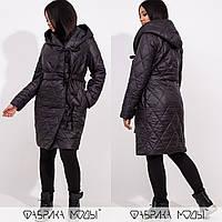Стеганое батальное пальто на синтепоне, черный