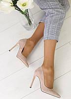 Туфли-лодочки женские на шпильке, пудра, материал - натуральная кожа, код FS-5634-2