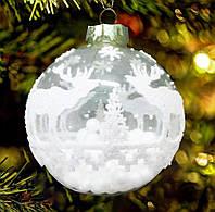 """Шары новогодние стеклянные """"Лесной олень 2""""85 мм"""