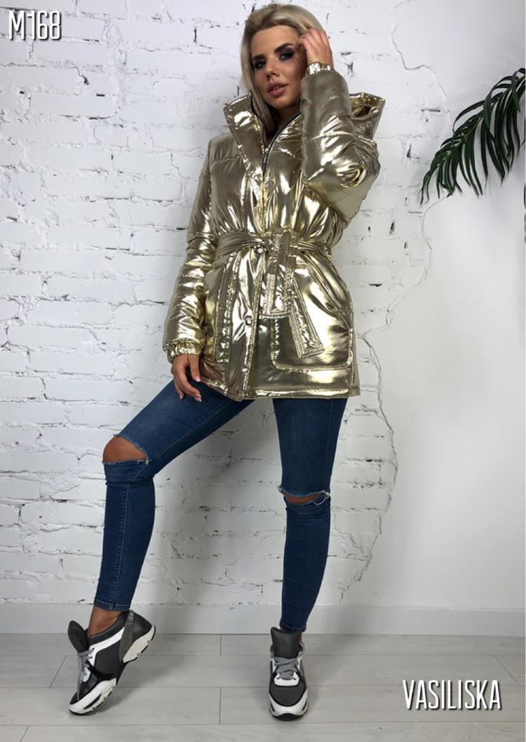 """Куртка женская зимняя с капюшоном металлик """"Hip Hop"""""""