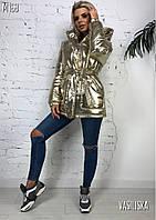 """Куртка женская зимняя с капюшоном металлик """"Hip Hop"""", фото 1"""