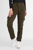Женские теплые брюки, джоггеры на флисе, цвет хаки., фото 1