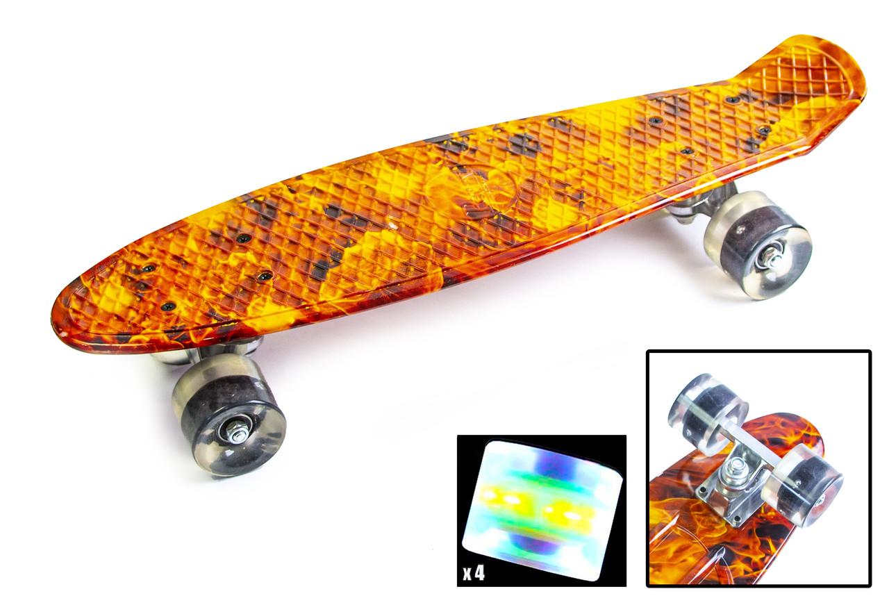 """Penny Board """"Огонь-кулак"""". Светящиеся колеса (01471147)"""