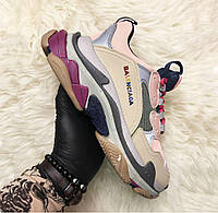 Balenciaga Triple S Beige Rainbow   кроссовки женские; бежевые / цветные; баленсиага; рефлектив