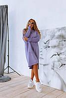 Вільний в'язане плаття оверсайз з кишенями і довгим рукавом 18mpl143