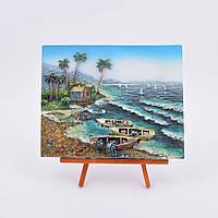 Картина пластик на дерев. подставке Морской берег 18х22 (41503.002)