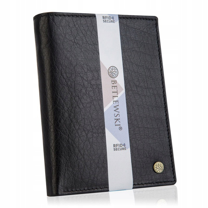 Чоловічий шкіряний гаманець Betlewski з RFID 12,9 х 10 х 2,5 (BPM-BH-575) - чорний