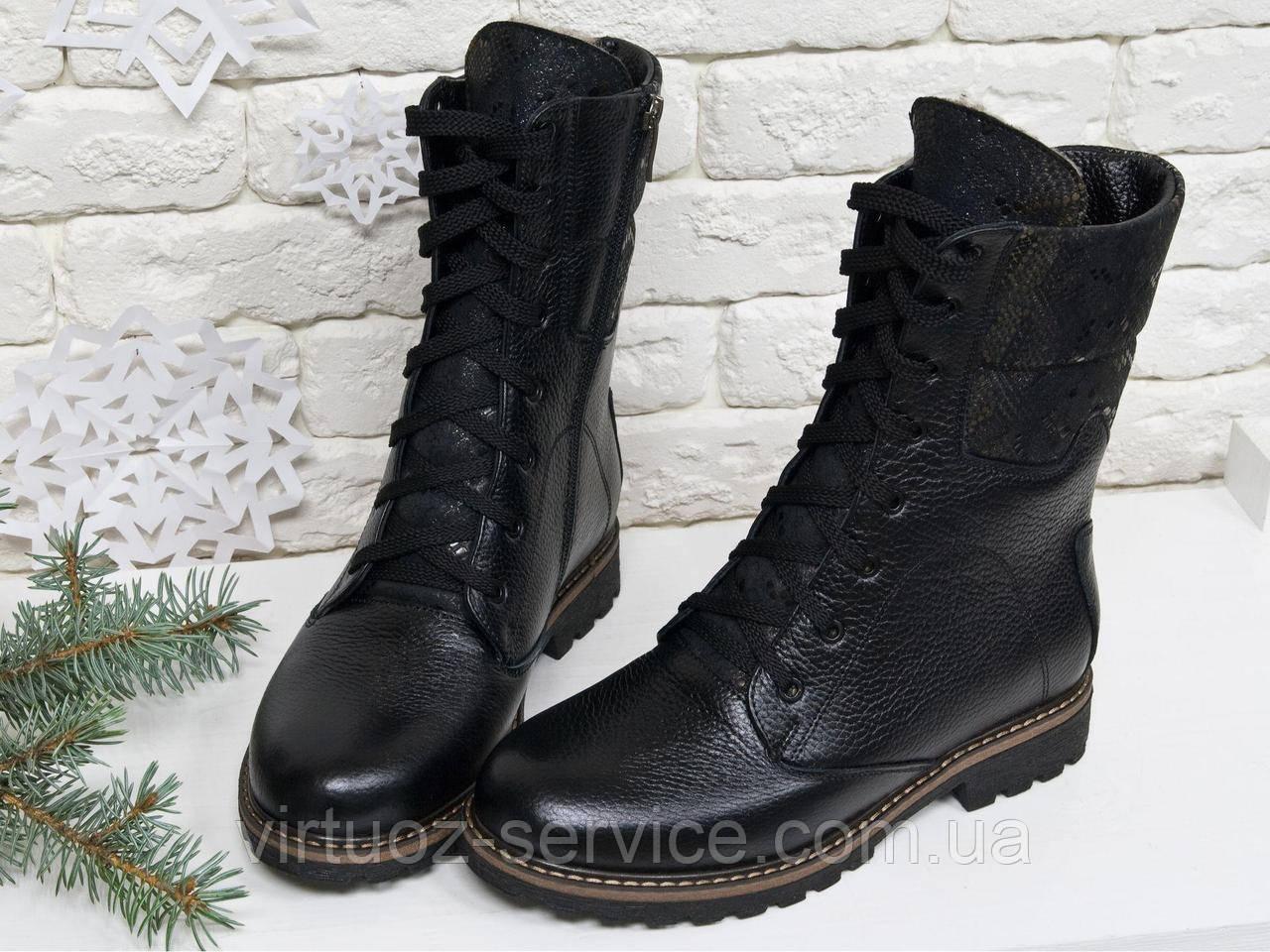 Ботинки женские Gino Figini Б-44-03 из натуральной кожи 39 Черный