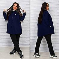 Пальто женское свободного кроя батал