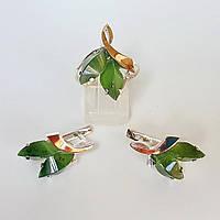 Серебряный комплект кольцо и серьги с натуральным нефритом
