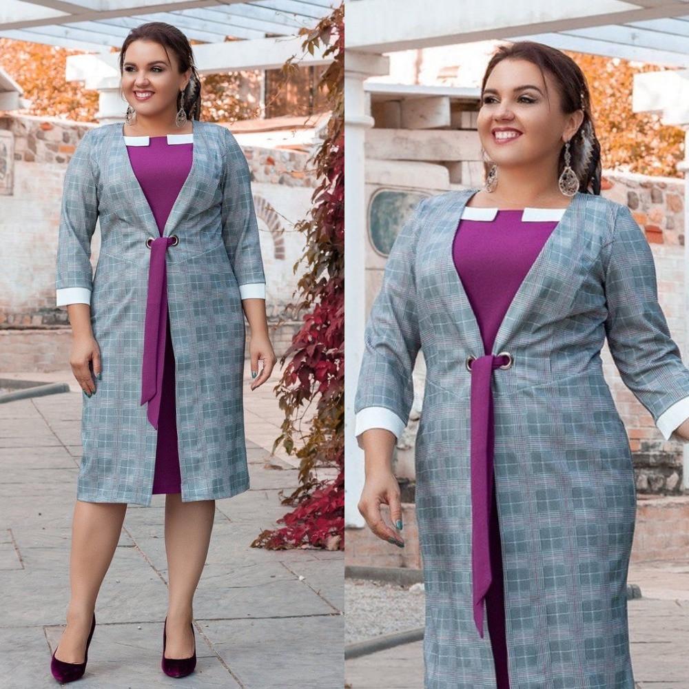 Платье женское большого размера,повседневное, стильное, офисное, молодежное, длина по колено, кардиган пришит