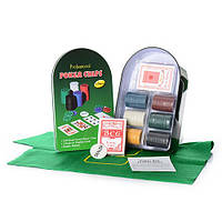 Покерный набор в металлической коробке-120 фишек (с номиналом,2 кол.карт,полотно)