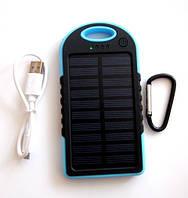 Power bank solar 30000 mAh + LED фонарик и зарядка от солнечной батареи, синяя