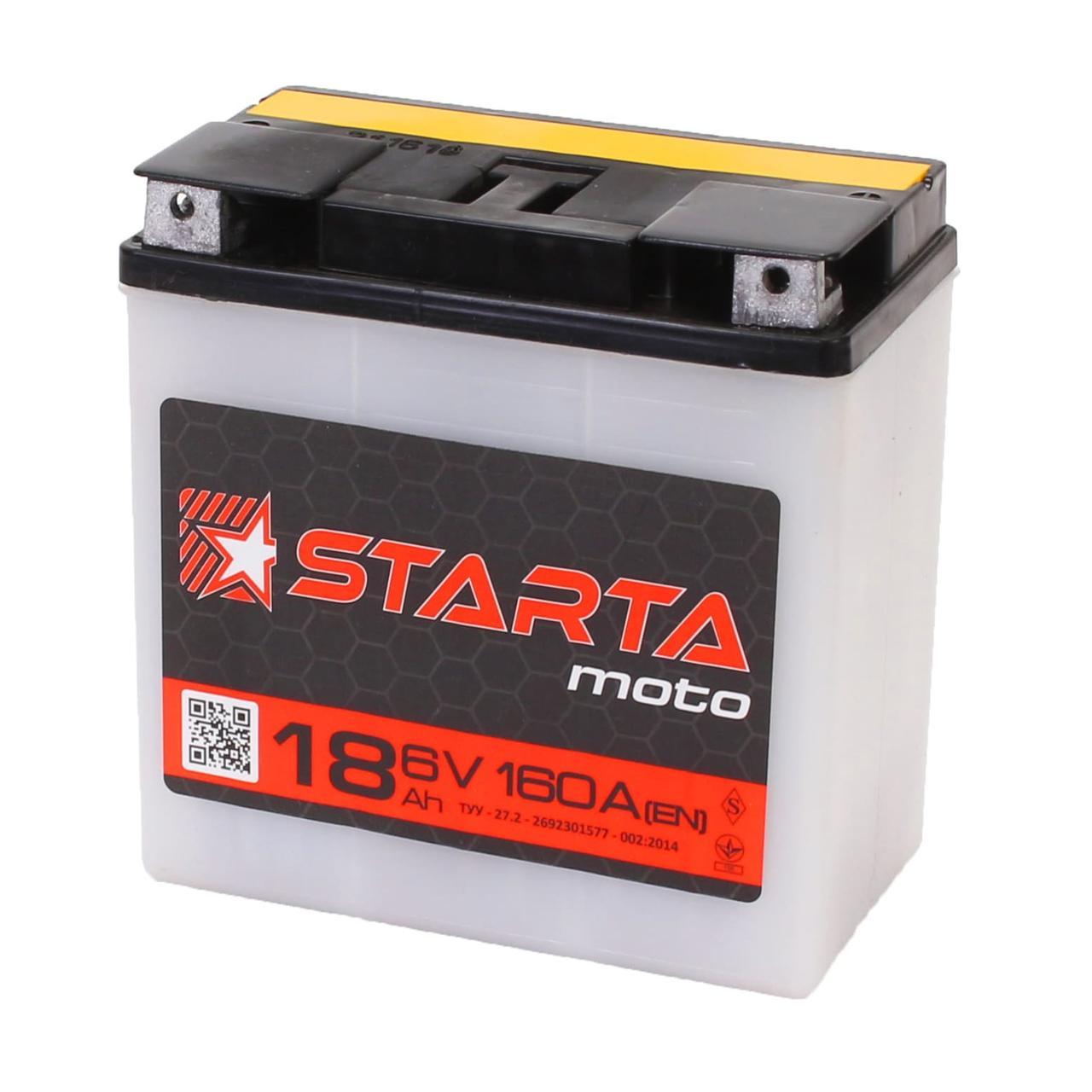 Аккумулятор мото  STARTA Moto 3CT 18 (Под болт), пусковой ток 80А [– +]