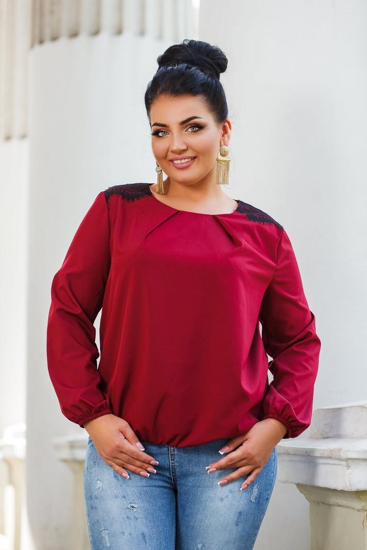 Женская блуза со вставками кружева 42-44, 46-48, 50-52, 54-56