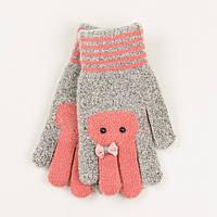 Двойные ангоровые перчатки на девочек 4-6 лет - 19-7-23 - Серо-коралловый