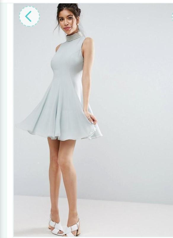 Распродажа! ASOS размер L Шифоновое пышное платье клёш