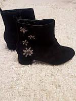 Распродажа! размер 37 Замшевые черные ботинки размер 37
