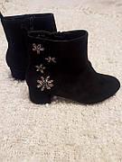 Замшевые черные ботинки размер 37