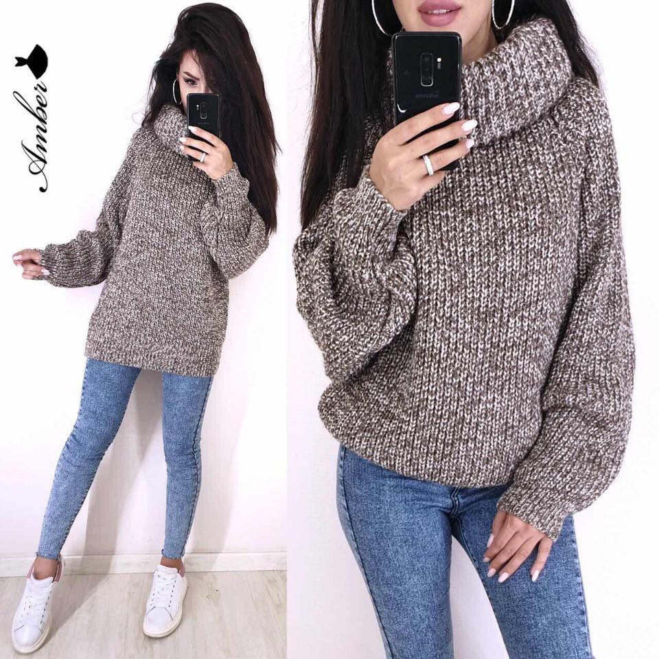 Женский вязаный свитер с широкими рукавами и большим воротником vN3230