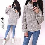 Женский вязаный свитер с широкими рукавами и большим воротником vN3230, фото 4