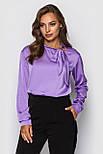 Шелковая женская блуза свободная с бантом vN3239, фото 2