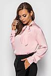 Шелковая женская блуза свободная с бантом vN3239, фото 3