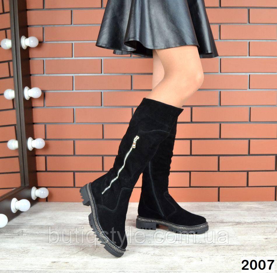 Женские черные сапоги  натуральная замша на низком ходу Зима