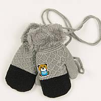 Ветские варежки с меховой подкладкой на 1-2 года - 19-7-28 - Серый, фото 1