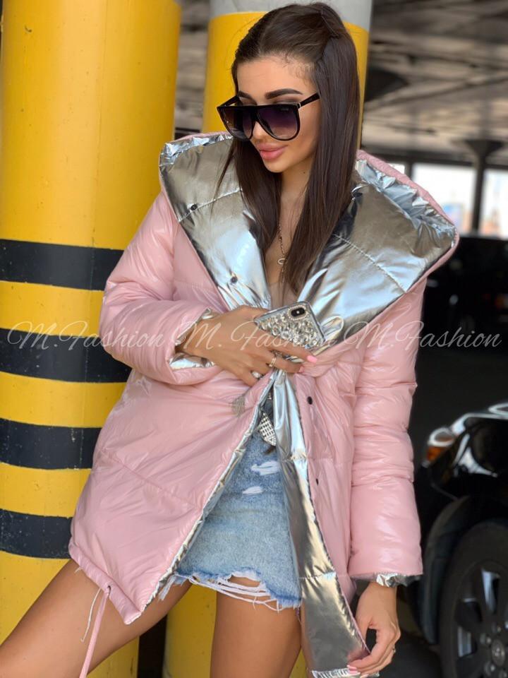 Женская двухсторонняя зимняя куртка зефирка из лаковой плащевки vN3248