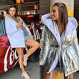 Женская двухсторонняя зимняя куртка зефирка из лаковой плащевки vN3248, фото 3