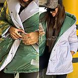 Женская двухсторонняя зимняя куртка зефирка из лаковой плащевки vN3248, фото 5