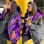 Женская двухсторонняя зимняя куртка зефирка из лаковой плащевки vN3248, фото 6