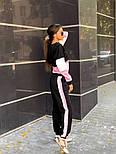 Женский трикотажный спортивный костюм с худи с молнией на груди vN3259, фото 5