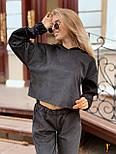 (от 42 до 52 размера) Вельветовый свободный брючный костюм с укороченной кофтой vN3276, фото 2