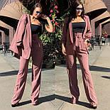 Женский брючный костюм с брюками клеш с завышенной талией и пиджаком vN3277, фото 2