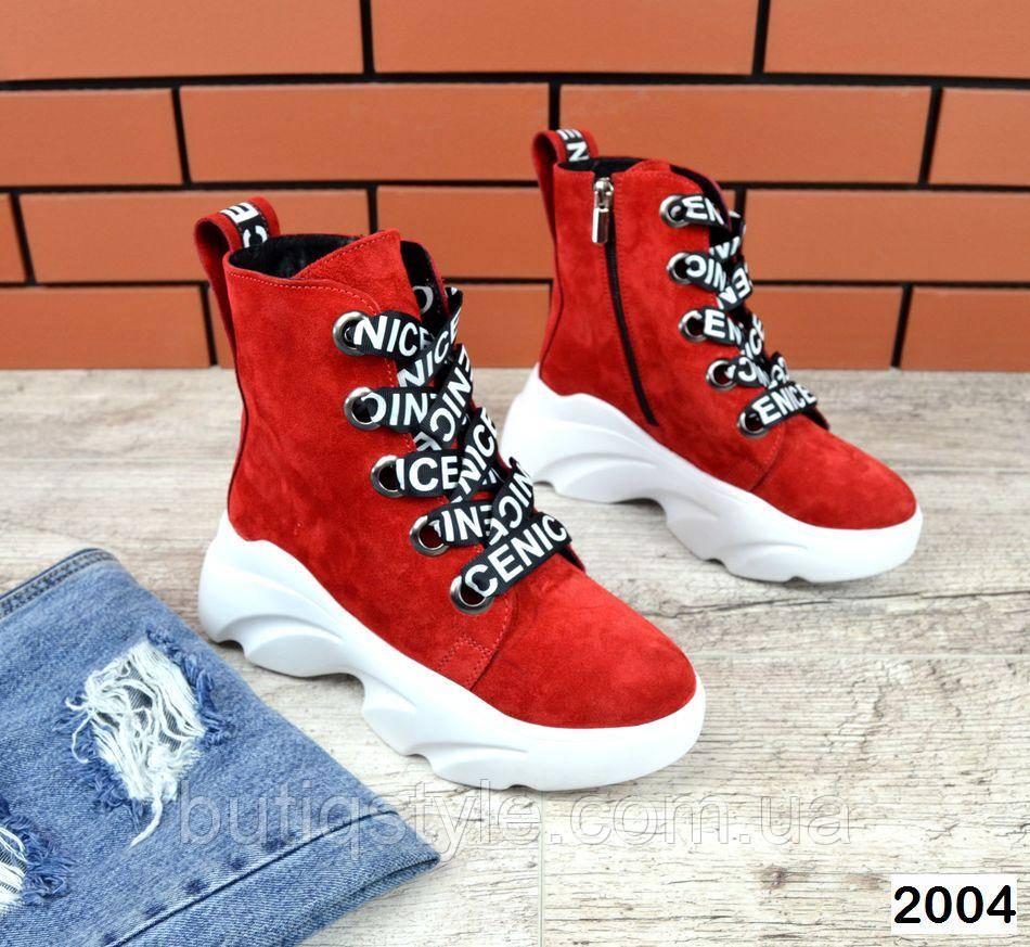 Женские красные ботинки натуральная замша на платформе  Деми