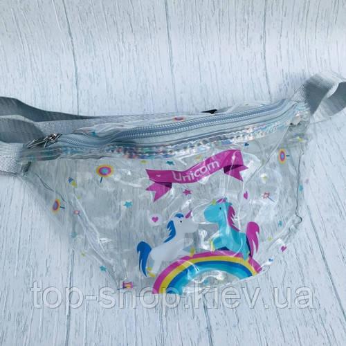 Детская сумка на пояс бананка для девочки единорог Unicor