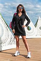 Спортивное платье прямого кроя, из двунитки на молнии,с капюшоном и длинным рукавом (44-54) черное
